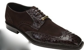 Belvedere Brown Pergola Crocodile and Suede Shoes