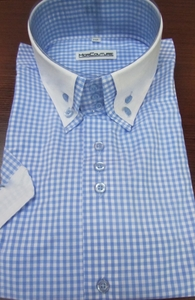 MorCouture Blue White Gingham High Double Collar Short Sleeve Shirt (Slim fit)