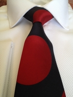 Navy Red Spot Silk Necktie