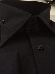 Axxess 3 Button High Collar Black Shirt