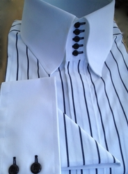MorCouture White Black Pinstripe 5 Button High Collar Shirt w/matching Hanky