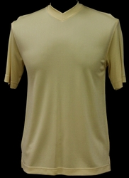 Ribbed Short Sleeve V-Neck Shirt (Butter)