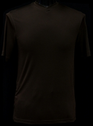 Ribbed Short Sleeve V-Neck Shirt (Brown)