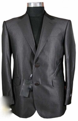 Designer Birdseye Suit   Charcoal grey