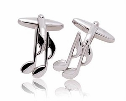 Silver Music Note Cufflinks