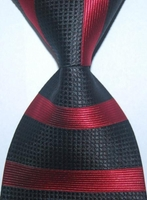 Black Red Stripe Silk Woven Necktie