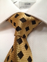 Gold Black Diamond Silk Woven Necktie