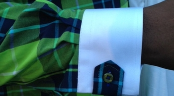 MorCouture Green Plaid High Collar Shirt w/Hanky (Cuff view)