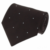 Brown White Pin Dot Silk Necktie