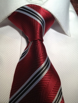 Red Herringbone Stripe Silk Necktie