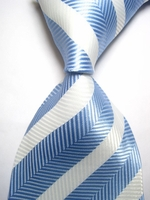 Backordered --Blue White Silk Woven Necktie