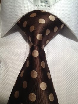 Brown Gold Polka Dot Silk Necktie