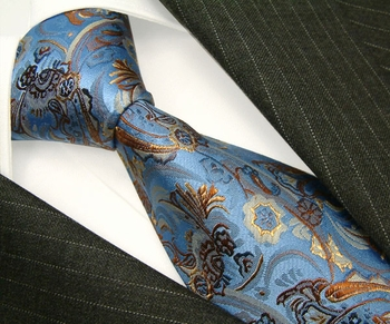 Lorenzo Sky Blue Taupe Gold necktie Elite Edition