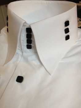 MorCouture White 4 Button 3 Button Side High Collar Shirt