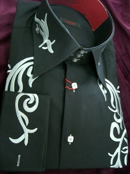 Axxess Embroidered High Collar Shirt  black with silver accent 2XL(18 - 18.5)