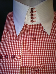 MorCouture Red Gingham<br> 5Button Collar Shirt <br>(Matching Hanky)
