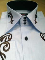 Axxess Embroidered High Collar Shirt Sky with Brown accent