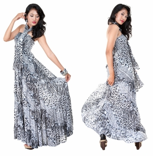 Womens Long Dress Cover-Up with Black/White Animal Print Design