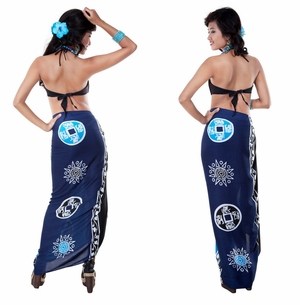 Abstract Tiki Sarong in Black/Blues