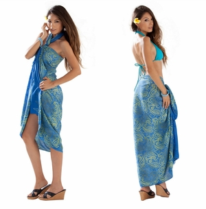 Paisley Sarong in Light Blue and Lime