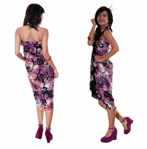 Smoked Hibiscus Floral Sarong in Purple