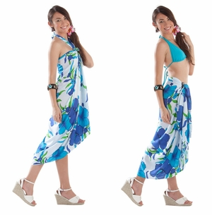 Hanalei Floral Sarong in Turquoise/White