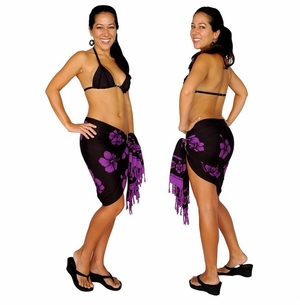 "Half Sarong/Mini Sarong Hibiscus ""Purple / Black"""