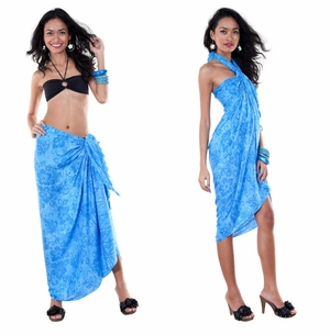 Hibiscus Flower Sarong in Turquoise