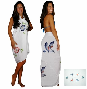 "Sequined / Embroidered / Floral Birds Sarong ""White"""