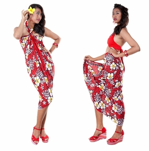 Vivid Hibiscus Flower Sarong in Red