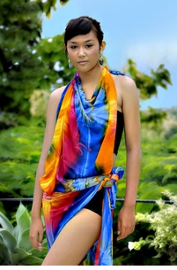 "Plus Sized Sarong Tie Dye ""Diamond Rainbow"" FRINGELESS"