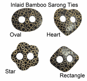 Inlaid Bamboo Sarong Ties - Set of  8