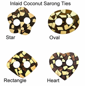 Inlaid Coconut Sarong Ties - Set of 8