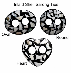 Inlaid Shell Sarong Ties - Black/White - Set of 6