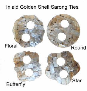 Inlaid Golden Shell Sarong Ties - Set of 8