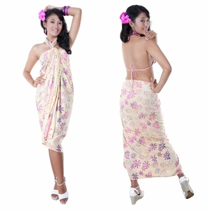 Abstract  Floral Top Quality Sarong in Cream