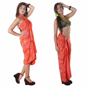 Abstract Top Quality Sarong in Orange