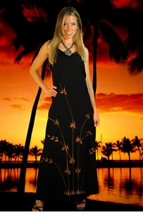 Womens Long Summer Dress in Bamboo Black