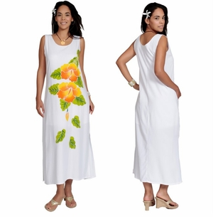 Long White Dress With Hand Painted Gold Hibiscus Design - Lined