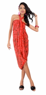 Abstract Rose Flower Sarong in Red