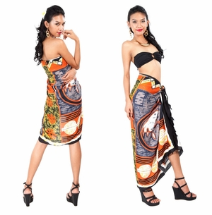 Abstract Graphic Design Sarong in Light Brown