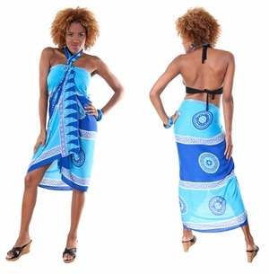 Abstract Tiki Sarong in Blues