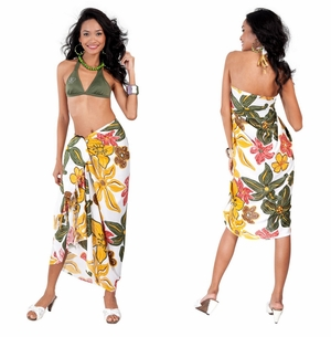Tropical Floral in Sarong in Mauve/Green/Yellow