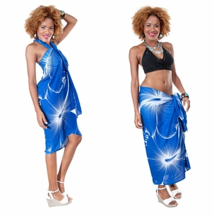 Big Hibiscus Floral Sarong in Blue