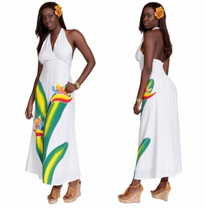 Long White Dress With Hand Painted Bird Of Paradise Design - Lined