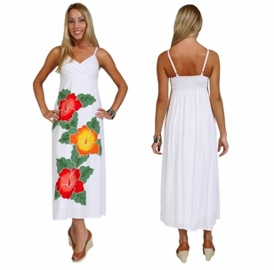 Long White Dress With Hand Painted Hibiscus Design - Lined