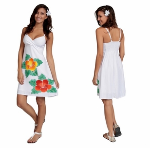 Womens Mini White Dress With Hand Painted Hibiscus Design-Lined