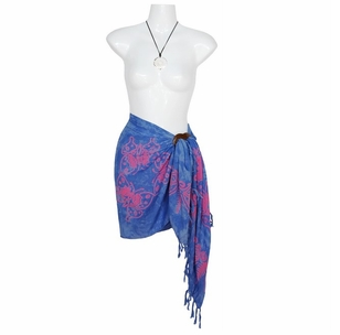 "Butterfly Half Sarong ""Light Blue / Pink"""