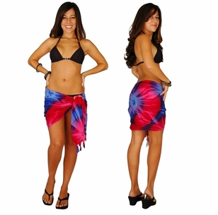 "HALF SARONG / MINI SARONG<BR> ""Chakra"" Pink-Red-Purple-Blue"""
