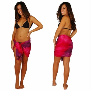 "HALF SARONG / MINI SARONG<BR> ""Red / Purple / Pink"" Tie Dye 29"